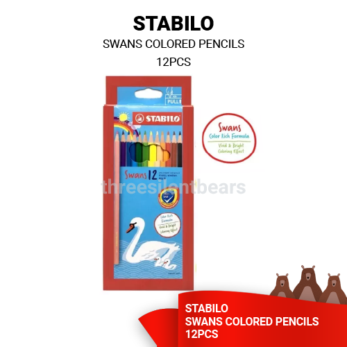 STABILO SWANS 12 COLORED PENCILS - READY STOCK -FAST SHIPPING - VALUE BUY