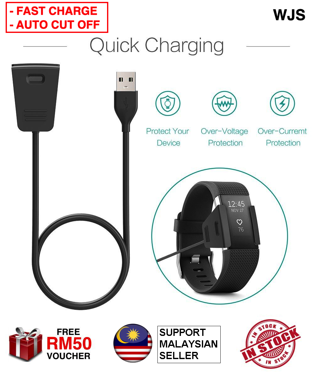 (FAST CHARGING) WJS Extra Long 55cm Fitbit Charge 2 Charge 3 Charger USB Cable, Replacement USB Charging Cable Cord Clip Dock Accessories Adapter Compatible Fit Bit Fitbit Charge 2 3 Smart Watch Tracker BLACK [FREE RM 50 VOUCHER]
