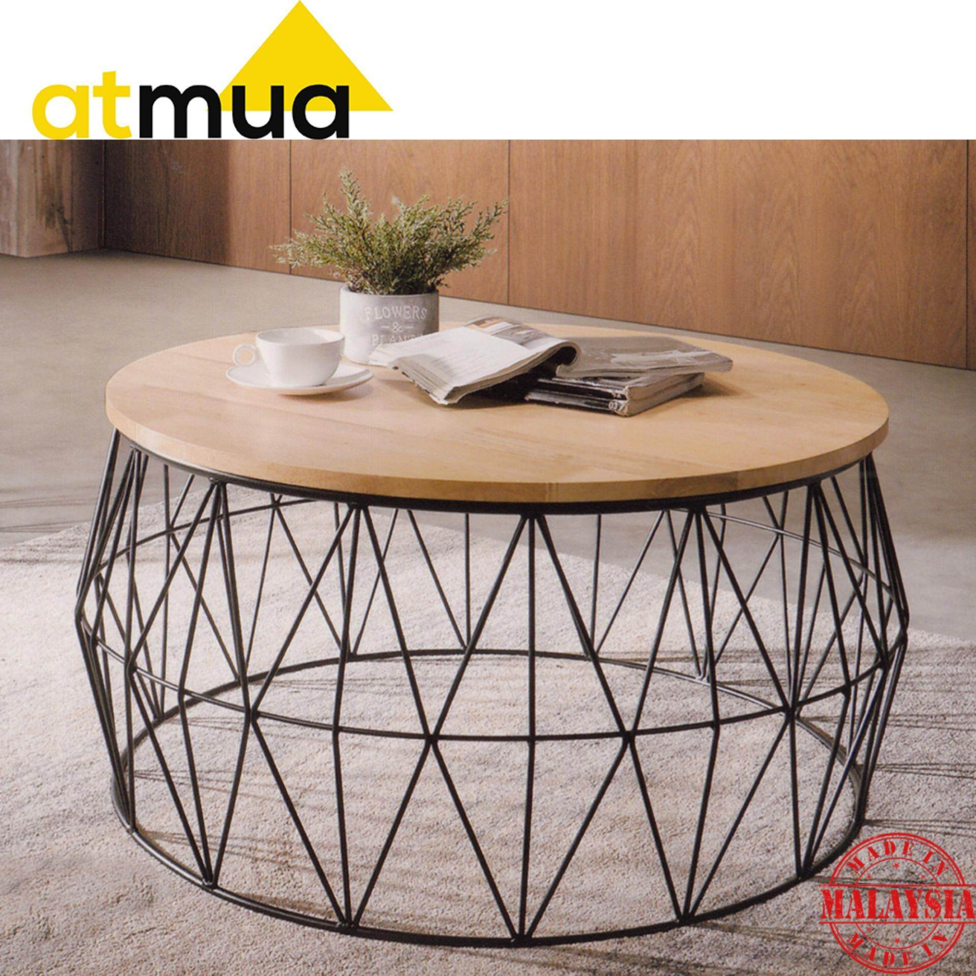 Table Bois Metal Design: Atmua Louis Round Coffee Table (Solid Wood Top With Metal