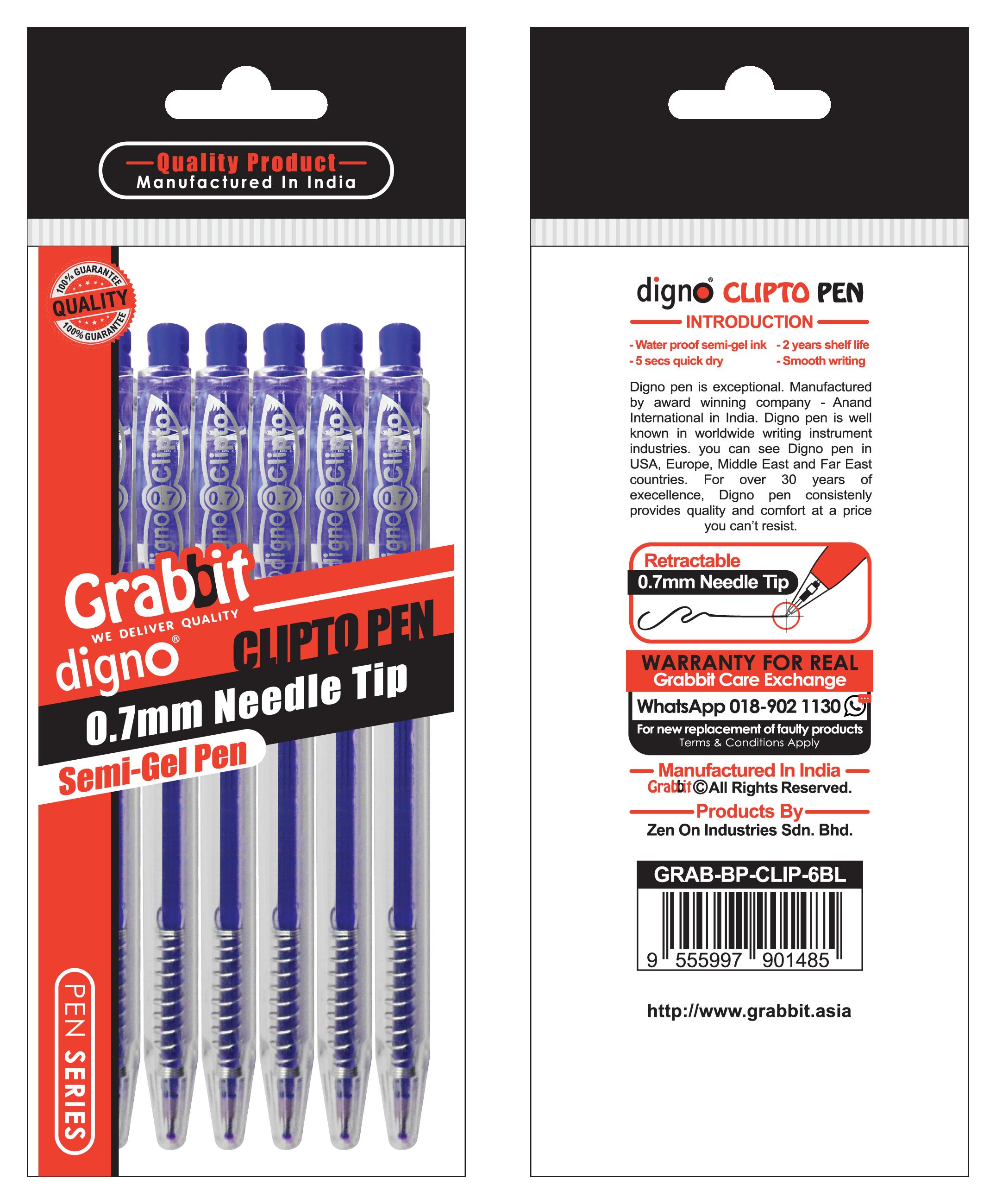 GRABBIT DIGNO CLIPTO BALL PEN 0.7mm BLUE INK 6's