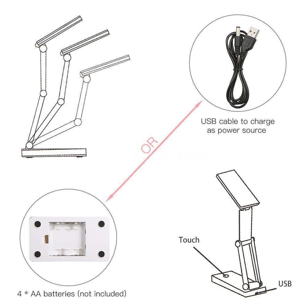 Table Lamps - PORTABLE Folding 24 LED Table Lamp Desk Light Sensitive Touch Control 3 Levels Adjustable - WHITE
