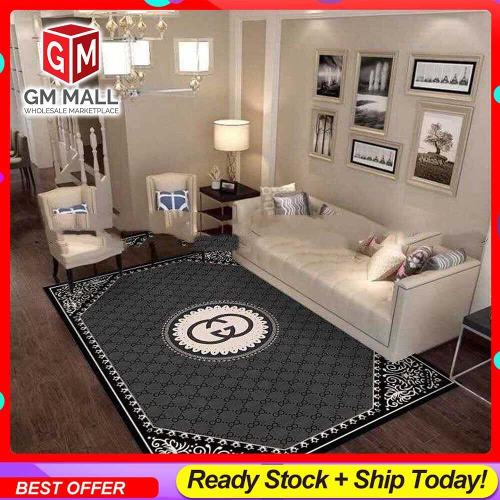 NEW DESIGN CARPET SIZE BESAR L/XL European Style Carpet Printed 3D Dark Grey Mat Floor - Karpet Bercorak 3D Waterproof/Living Room/Bedroom Material Velvet (C-12)
