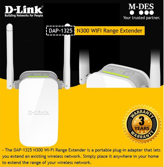 D-Link DAP-1325 Wireless N300 WiFi Extender Wireless Repeater / Access Point with Ethernet Port