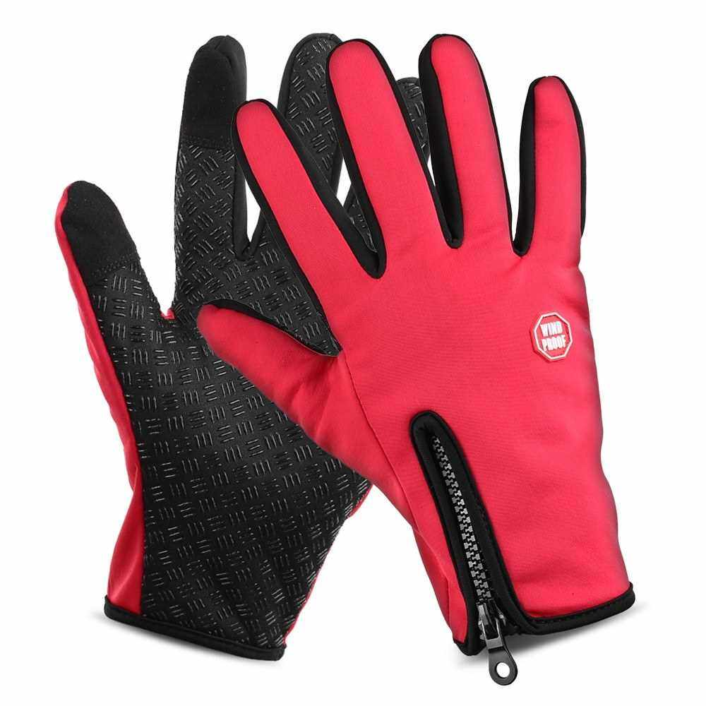 Best Selling Lixada Waterproof Touchscreen Cycling Gloves Winter Outdoor Sports Windproof Long Finger Bike Riding Gloves Motorcycle Gloves for Men and Women (Red)
