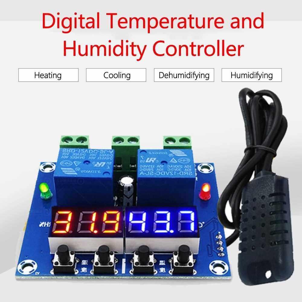 ZFX-M452 Humidity Temperature Controller Module Digital Thermostat Humidistat Controller Automatic Constant Temperature and Humidity Controller (Red & Blue)