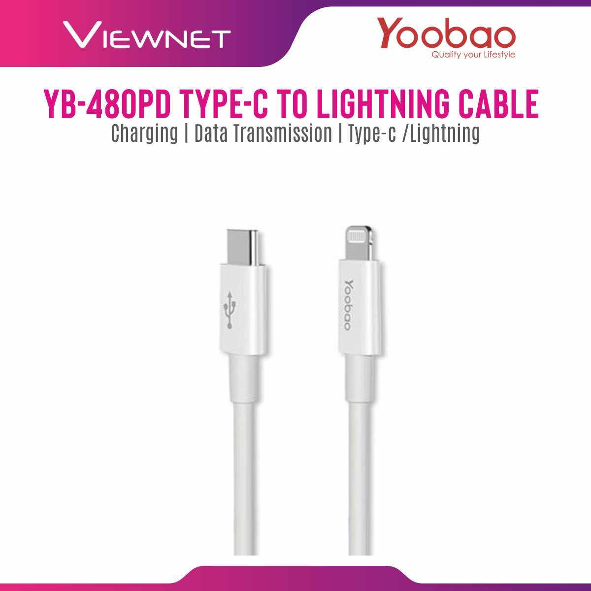 Yoobao YB-480PD [100CM] Type-c To Lightning Cable (White)