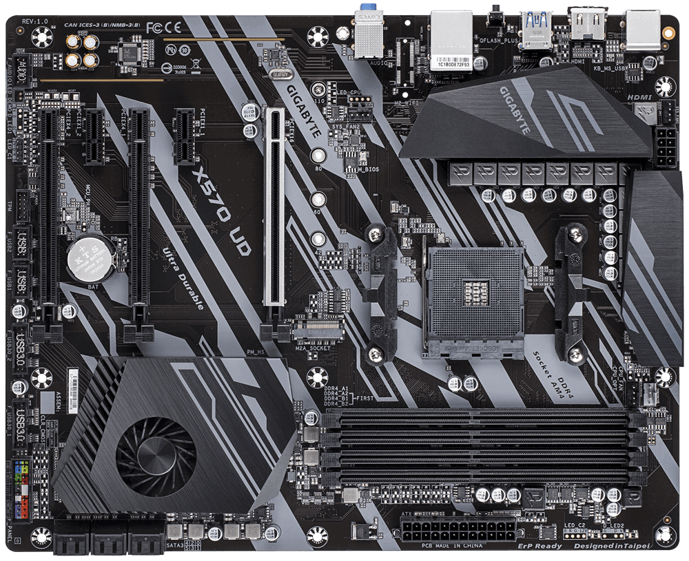 """Gigabyte X570 UD Mainboard, 10+2 Phases Digital VRM, Advanced Thermal Design with Enlarge Heatsink, PCIe 4.0 x4 M.2 Connector, PCIe 4.0 x16 Slot Armor with Ultra Durableâ""""¢ Design, GIGABYTE Gaming GbE LAN with Bandwidth Management, HDMI 2.0"""