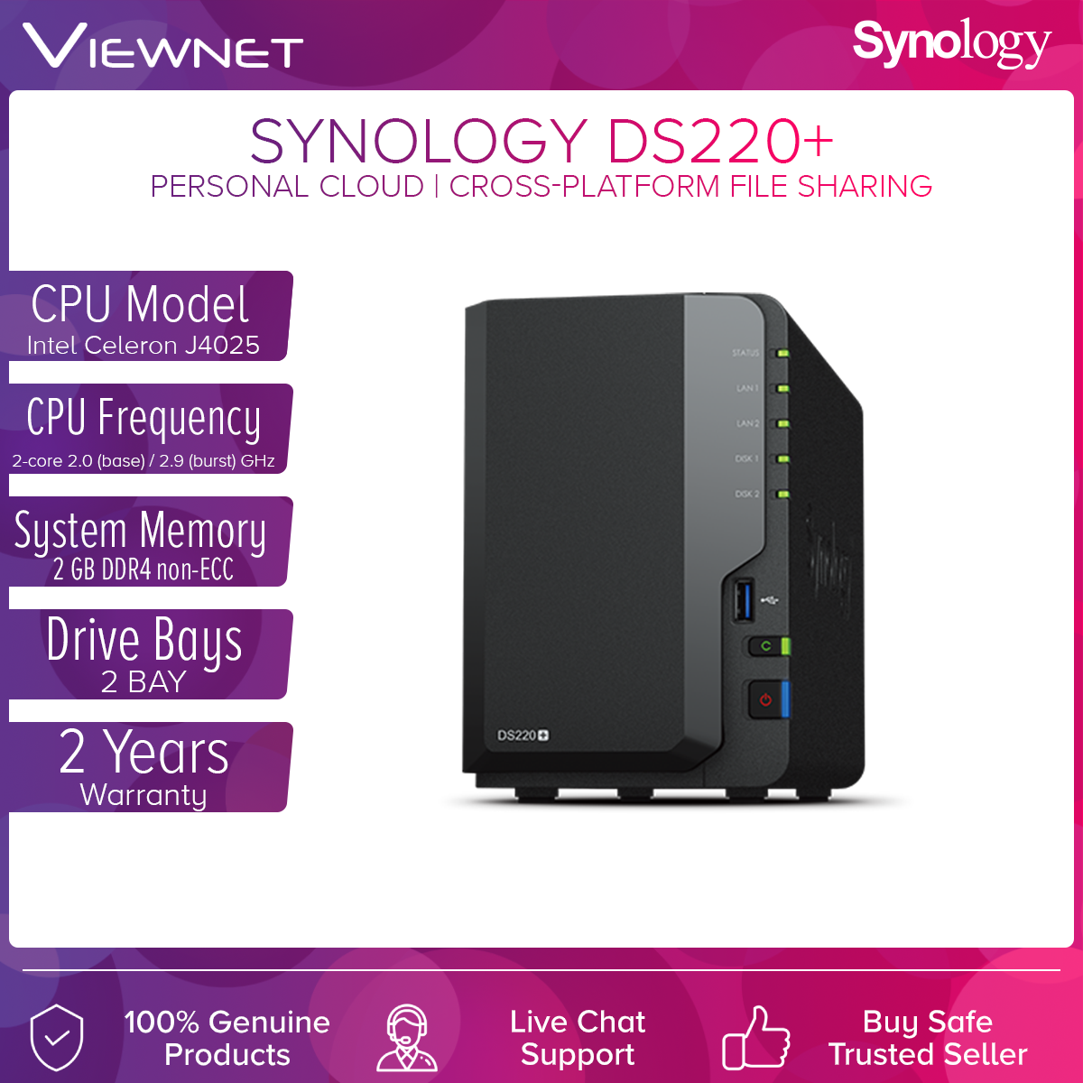 Synology DS220+ NAS DiskStation 2-Bays NAS with Dual-Core Processor Backup Storage for Home Users / Business