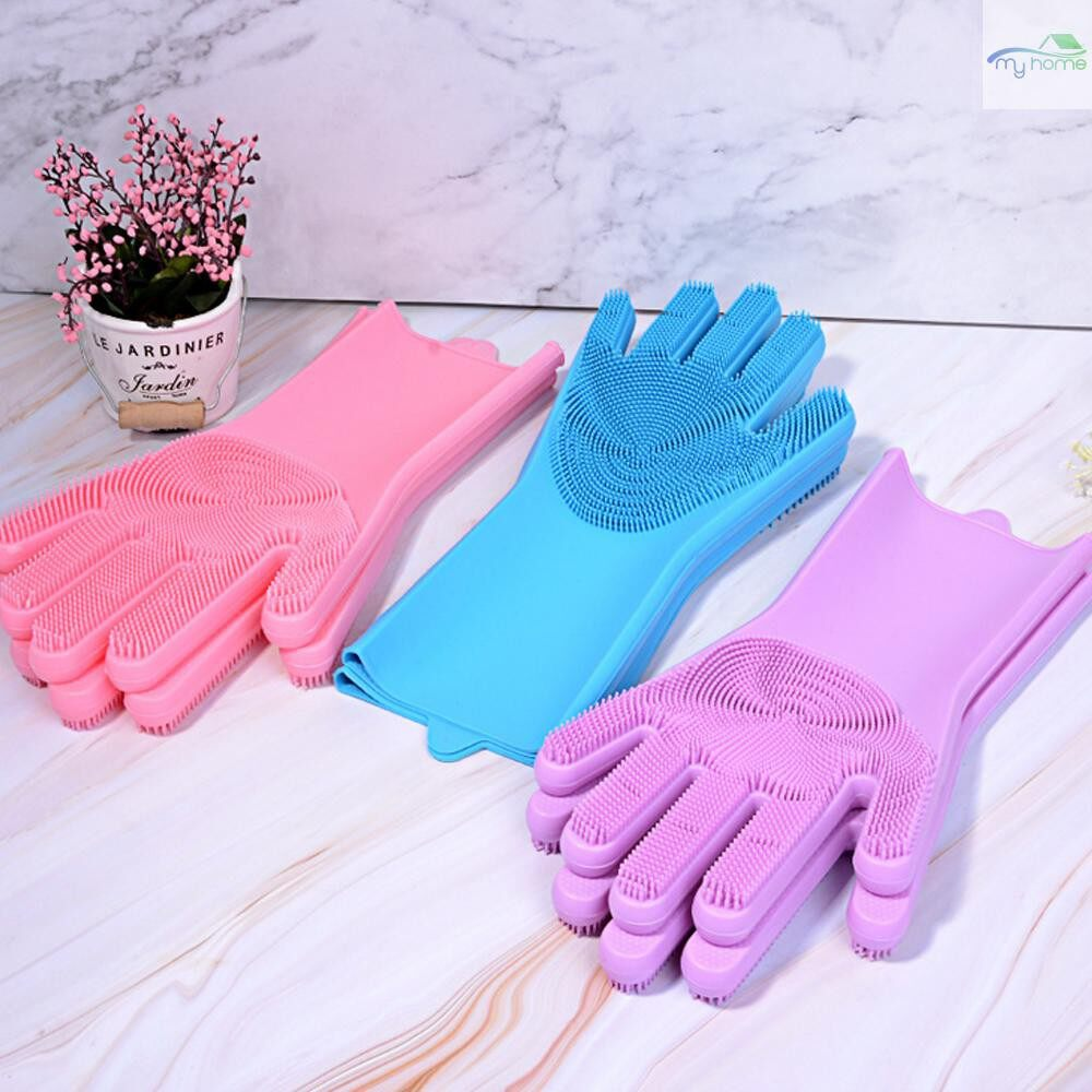 Protective Clothing & Equipment - Magic Silicone Dish Washing Gloves Kitchen Silicone Gloves Food Grade Dishwashing Gloves for - BLUE / PURPLE / ROSE RED