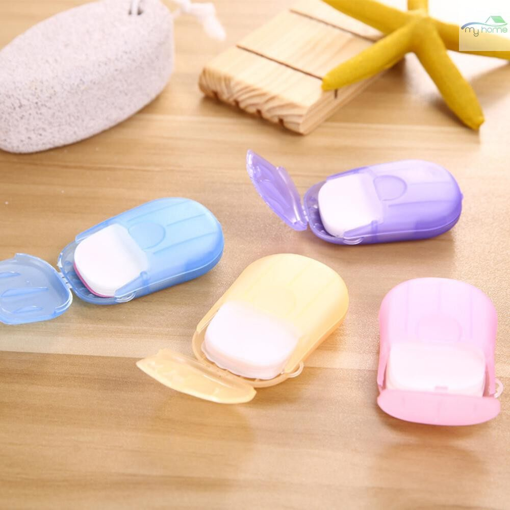Lighting - Travel PORTABLE Disposable Soap Flakes with Storage Box Container 20 PIECE(s) Soap Papers Scented - PINK / BLUE / PURPLE / ORANGE