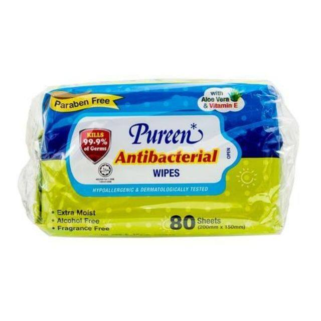 Pureen Antibacterial Wipes 80 sheet x 2 (200mm x 150 mm) TWIN PACK