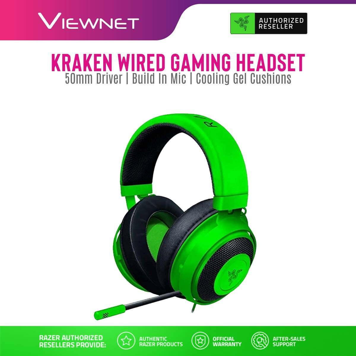 Razer Wired Gaming 2.1 Headset Kraken with Wired Analog 3.5mm, Cardioid Microphone, 7.1 Surround Sound Software, Black / Green (RZ04-02830100-R3M1 / RZ04-02830200-R3M1)