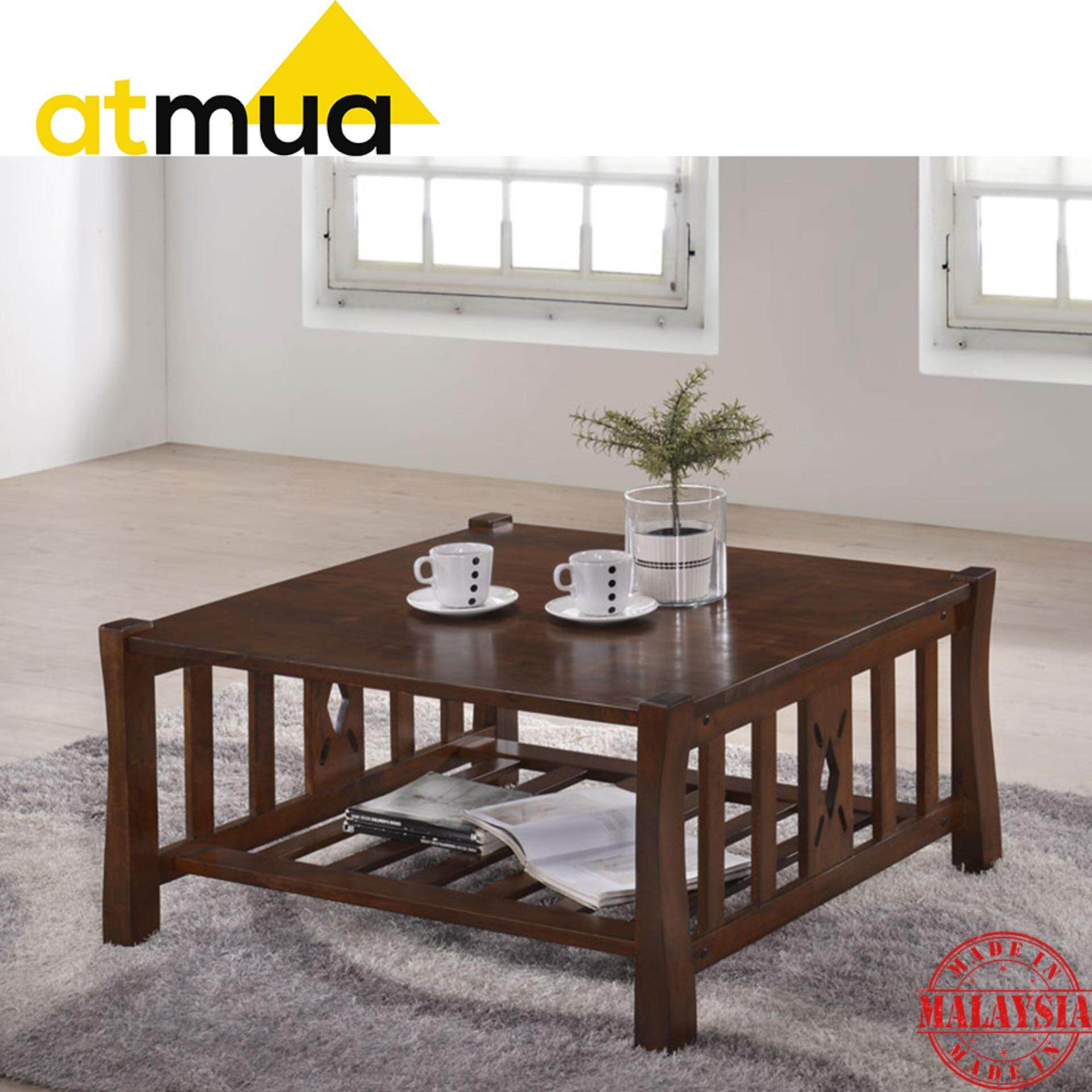 Atmua Vincent Square Coffee Table Classic Design Full Solid Wood