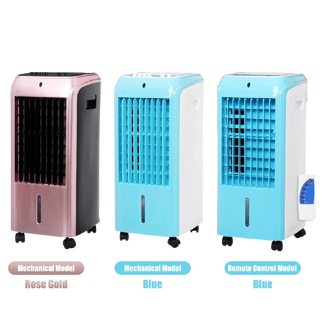 Air Conditioning & Coolers - Air Conditioner Cooling Timer Fan Strong Filter Remote Control w/Ice Crystal Box - BLUE / ROSE GOLD