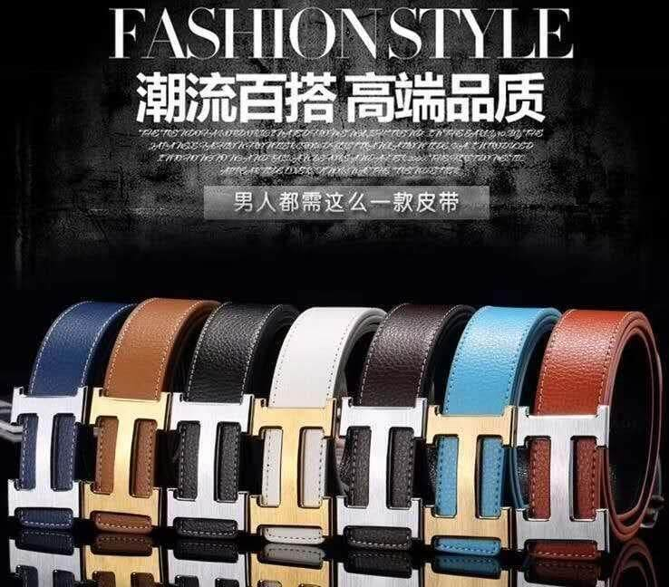[M'sia Warehouse Direct] 100% Cowhide Leather Belt 2020 British Series H Buckle Men's Perfect Gift For Love One (Come With Box) Stylish Luxury IG Youtuber's Hot Belt Suitable For Business And Casual Wear Genuine Leather Gred B+ Tali Pinggan Kulit Halal