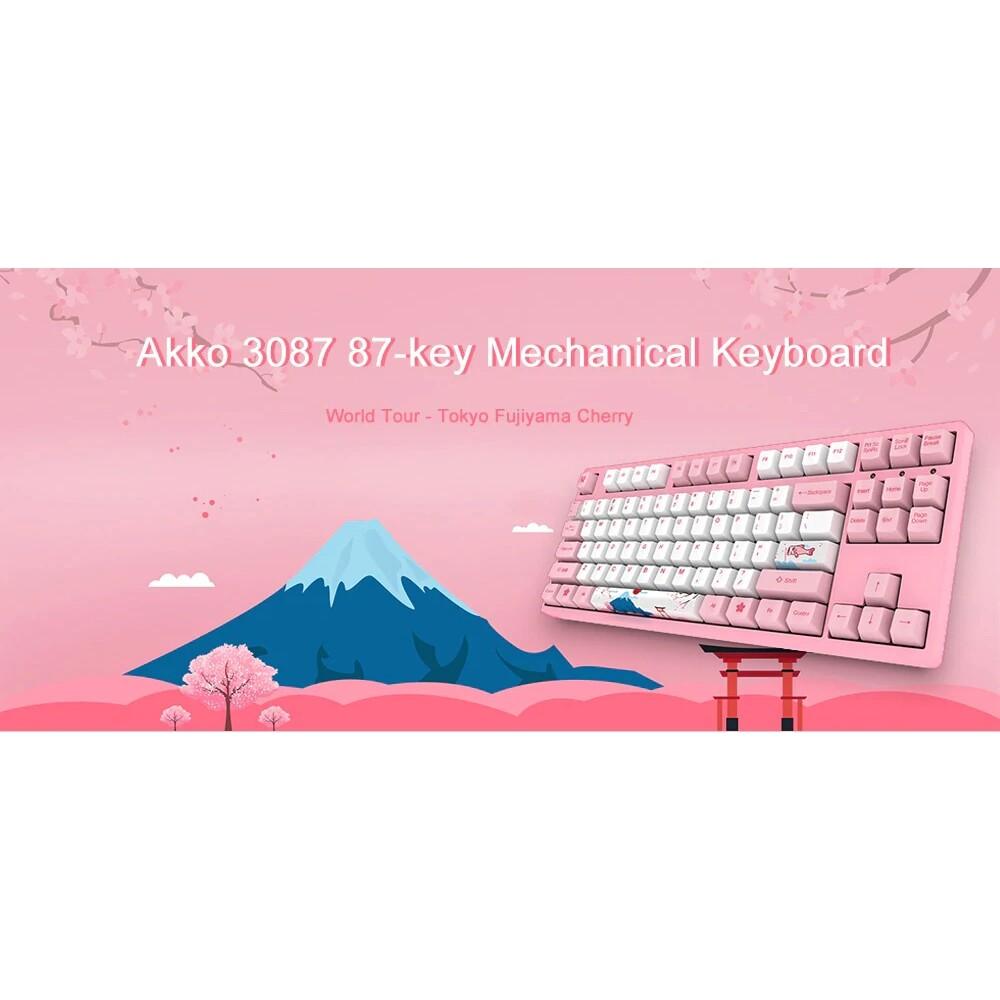 Keyboards - Akko 3087 World Tour - Tokyo 68 Keys BLUETOOTH 3.0 USB the Sublimation Huano Switch PBT Keycaps - PINK