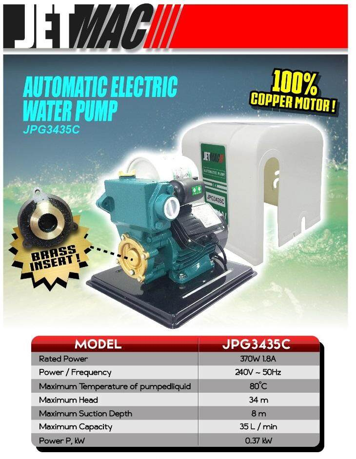 JETMAC JPG3435C Automatic Self Priming Water Pump with cover 370w truck keep in out kit case load lift lifting car truck track move moving up down put take go portable mobile heavy hand pull push set close open press on