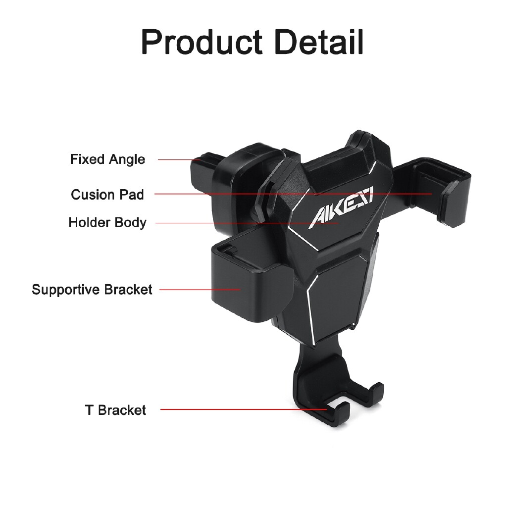 Phone Holder & Stand - Gravity Air Vent Phone Holder Car Mount Bracket For iPh XS XR Samsung S10 S9 - SILVER / BLACK