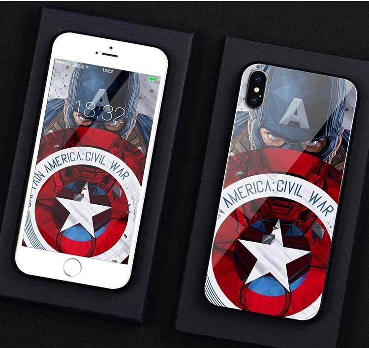 Honor 8X Marvel Glass phone case Captain America protection cover