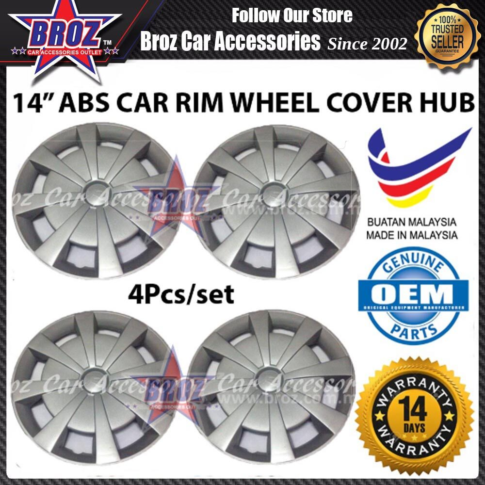 4pcs Type R Universal 14 Inch ABS Wheel Cover Rim Center Hub Cap