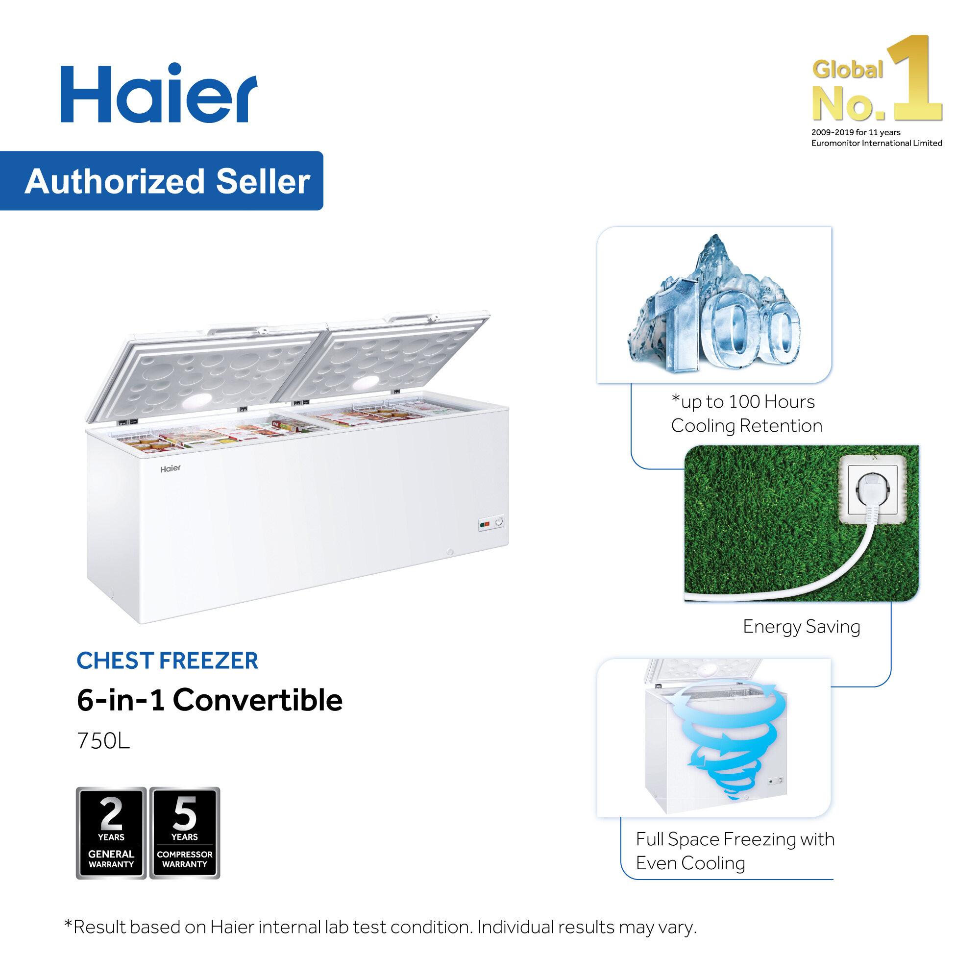 Haier 750L Chest Freezer 6 in 1 Convertible (Freezer<>Fridge)