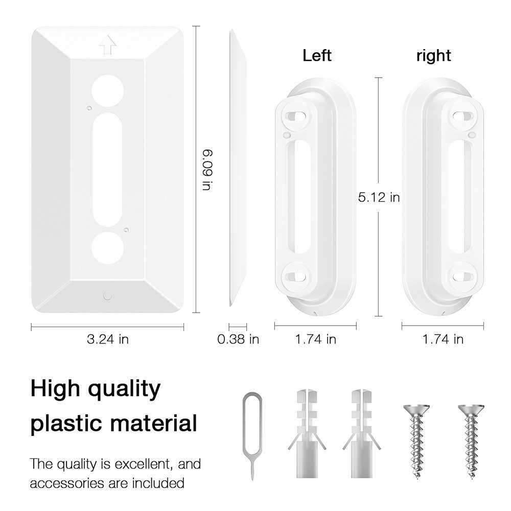 Wall Plate Come with L35/R35 Wedge For Arlo Video Doorbell , Compatible With Arlo Video Doorbell Plastic Material Adjustment Mounting Wall Plate Wedge Kit, White (White)