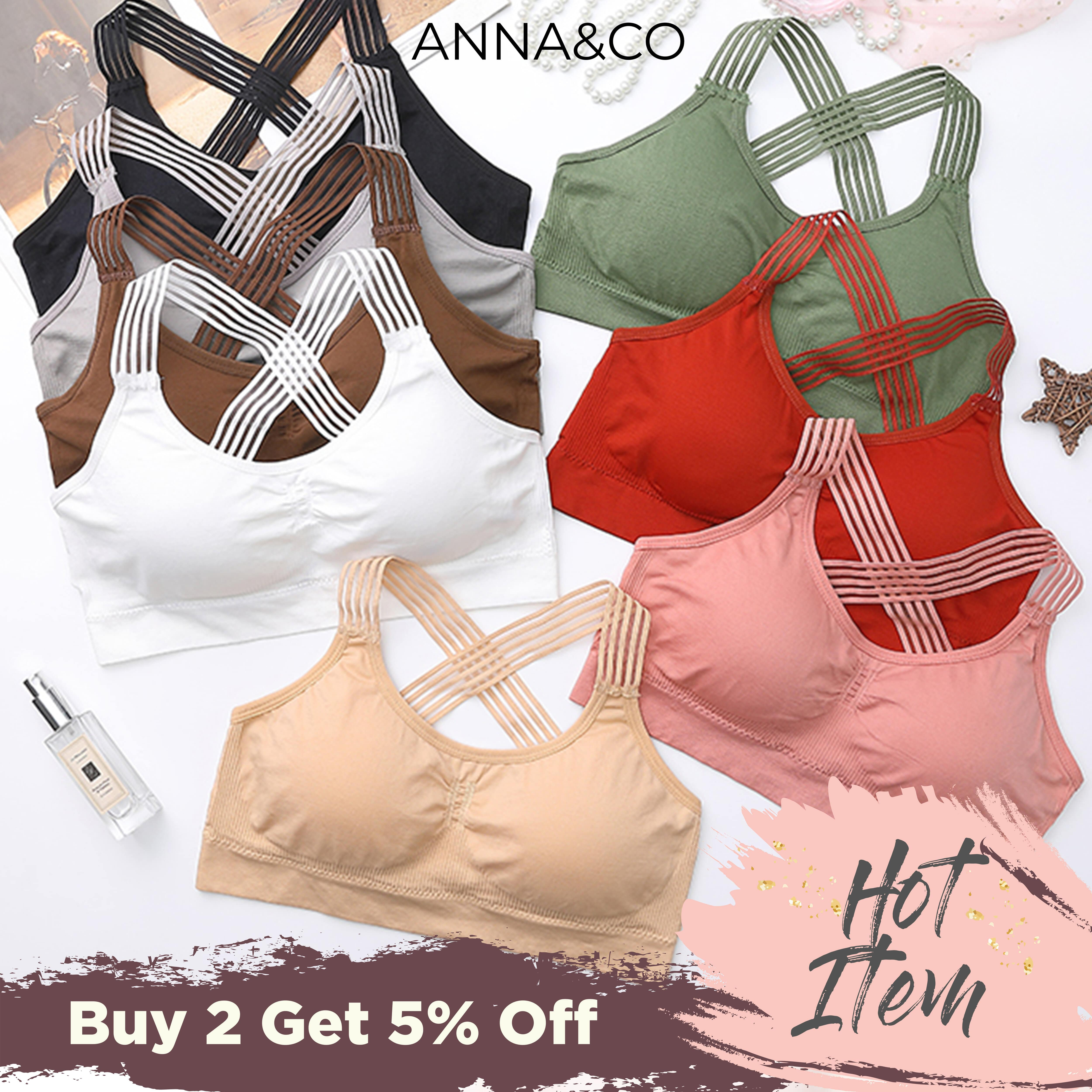 [NEW ARRIVAL READY STOCK]AnnaCo Women Bras Fine Luxury Premium lingerie Stretchable Korean Style Wireless Seamless 3D Push Up Breathable Singlet type Sport Bra with Removable Pads Stretchable Across Strip Bra Full Cup One Size Easy Wearing ONE SIZE 1871