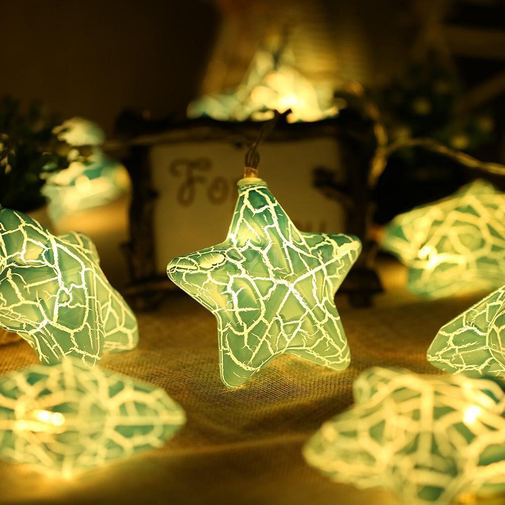 Lighting - 10 LED String Lights Star-shaped Window Curtain Lights String Lamp Striking Night Light Party - BLUE