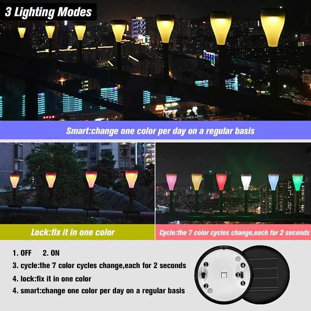 1 Pack Outdoor Solar Light Waterproof Outdoor Landscape Light with 7 Color Changing and 3 Modes Setting Perfect Decoration for Garden Pathways&Yard&Lawn&Fence (Multicolor)