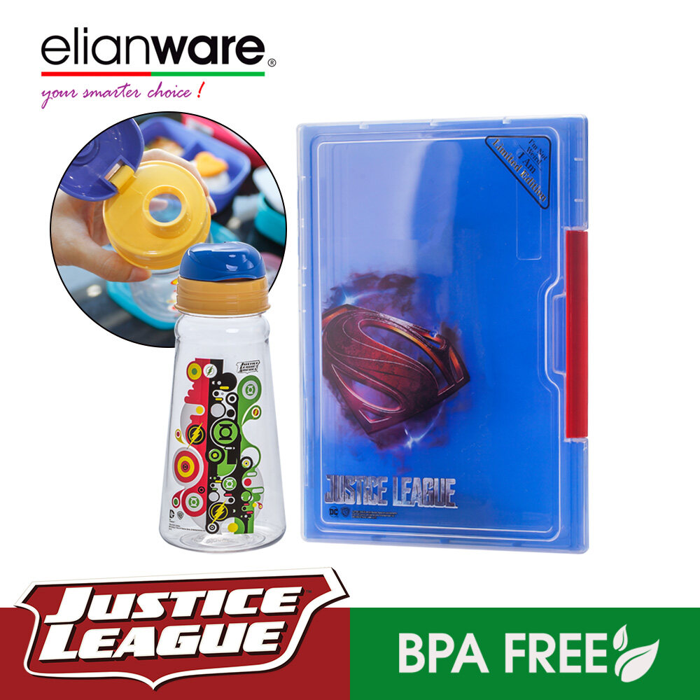 Elianware DC Justice League A4 File Case with 500ml Water Bottle Set