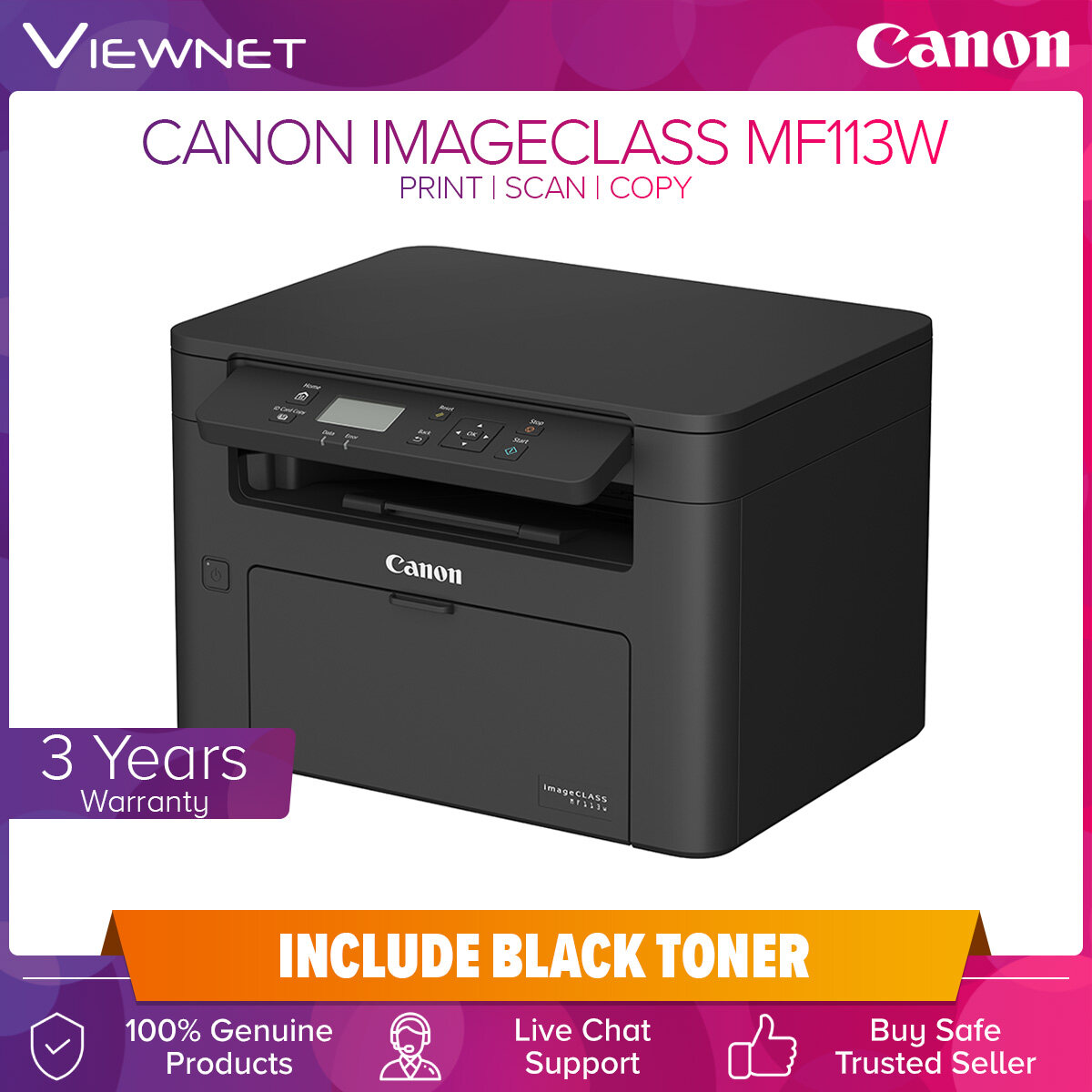 Canon imageCLASS MF113w Compact All-in-One with wireless connectivity Print, Scan, Copy