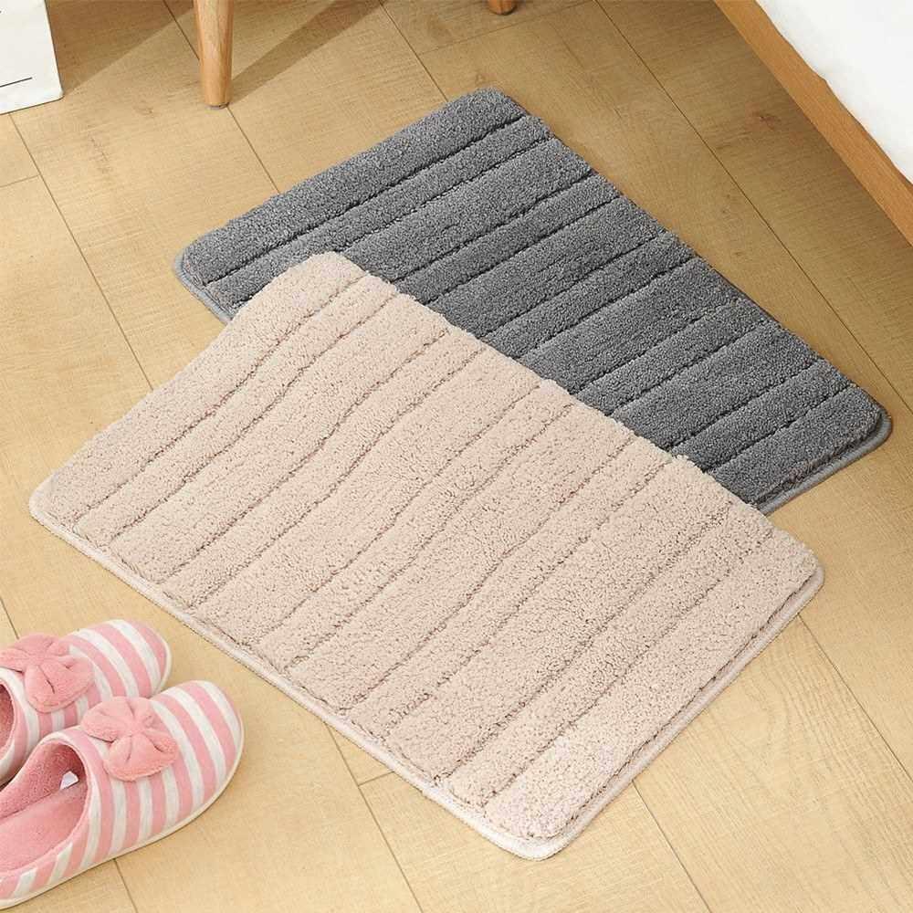 Bath Mat Bathroom Rug Carpet Soft Polyester Microfiber Floor Rug Non Slip Water Absorbent Kitchen Doormat Bedroom Chair Mat Machine Washable (Beige)