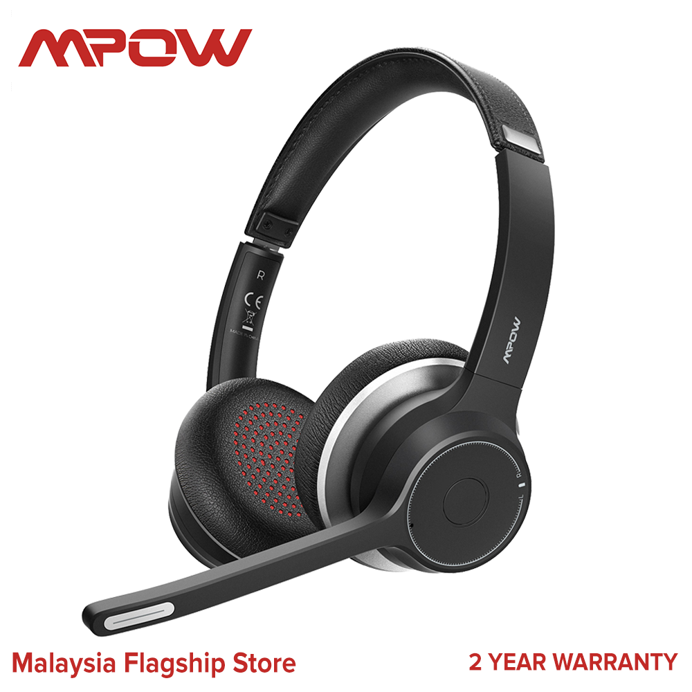 Mpow HC5 Bluetooth Headset V5.0, Wireless Headphones with Dual Microphone, CVC8.0 Noise Canceling, 22+Hrs Talk Time, Soft Ear Pad, Wireless Business Office Headset for Calling, Music (Wired Optional)