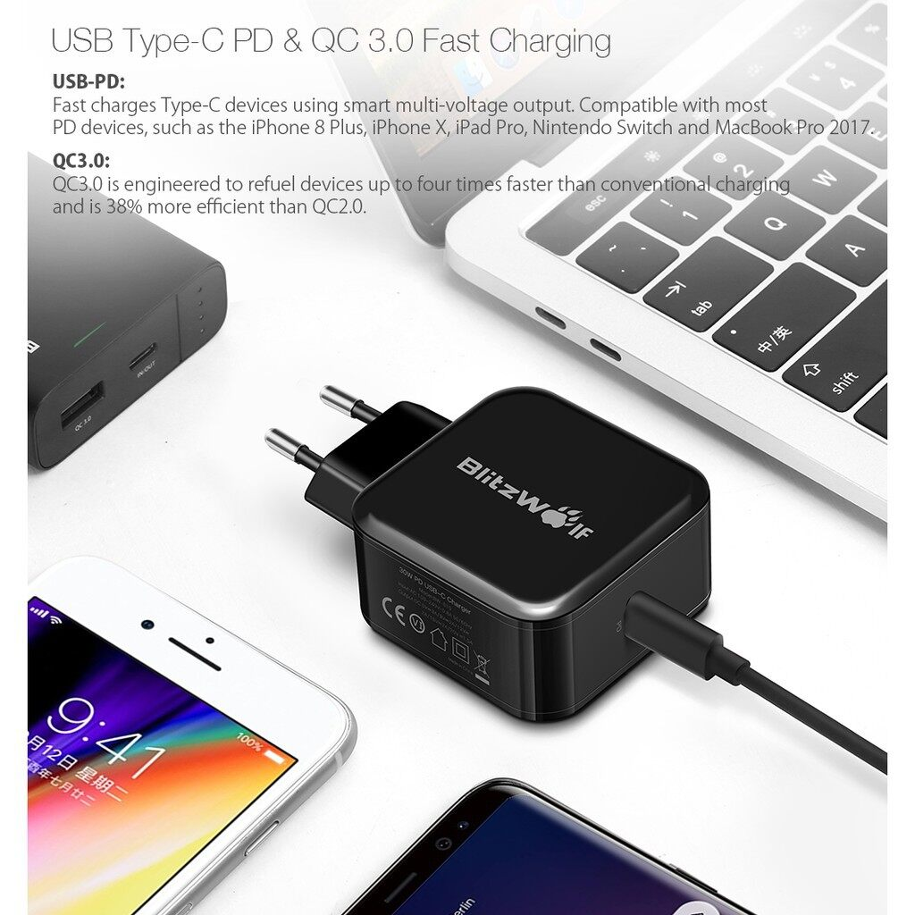 Chargers - BlitzWolf BW-S10 30W USB Type-C PD+QC3.0 Fast Charger EU Adapter - Cables