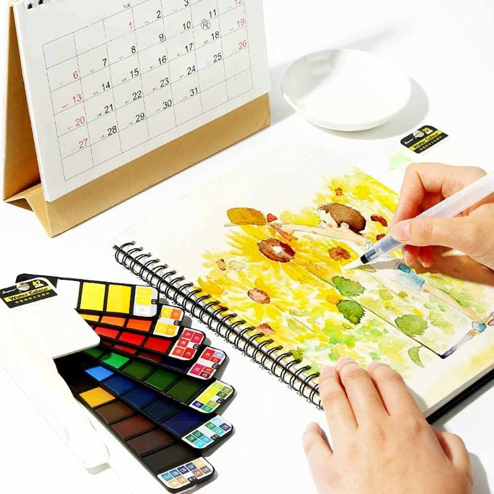 Best Selling 33 Colors Watercolor Paints Set with Waterbrush & Sponge & Palette Solid Watercolor Pigment Portable Fan-shaped Watercolor Painting Set for Beginners Professional Artists Kids (33)