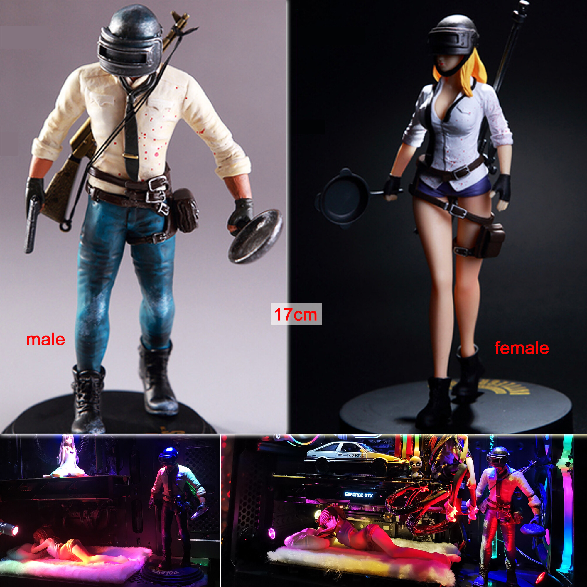 Pre-order: 17cm Battlegrounds PUBG figure pubg mask helmet toys games figure Toys for boys Computer Case Decoration (Male/ Female)