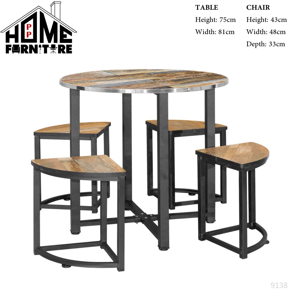 PP HOME Round Dining set modern(1 Dining Solid Wood Table + 4 Dining Chair)Balcony chair and table set/Garden table set/Outdoor furniture/Wooden Dining table set for 4/Eating table/Dinner table set/Kitchen table/Set Meja makan 4 kerusi/餐桌/ 餐桌椅9137 1/2