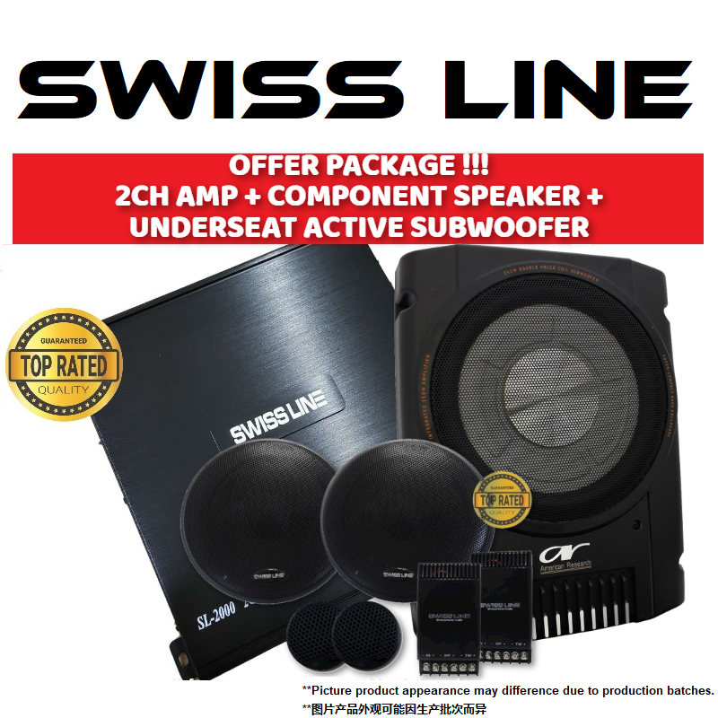 "SWISS LINE Package 2 Channel Car Power Amp + 6.5"" Mid-Bass Crossover Tweeter Component Set Car Speaker + UnderSeat Super Slim Active Subwoofer"