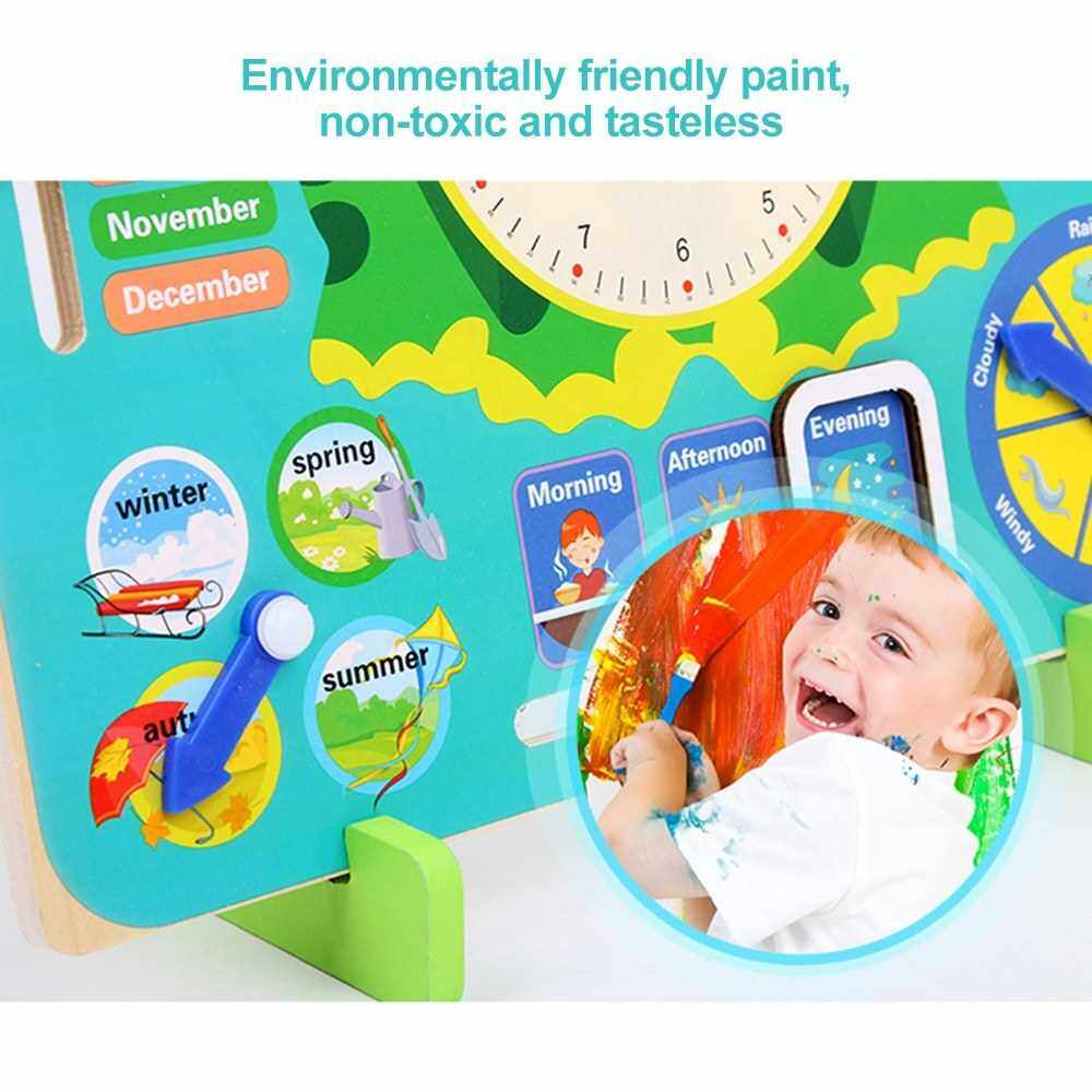 Multi-Functional Wooden Clock Enducational Timing Learning Tool Time Month Date Season Weather for Kids Children Preschoolers (Standard)