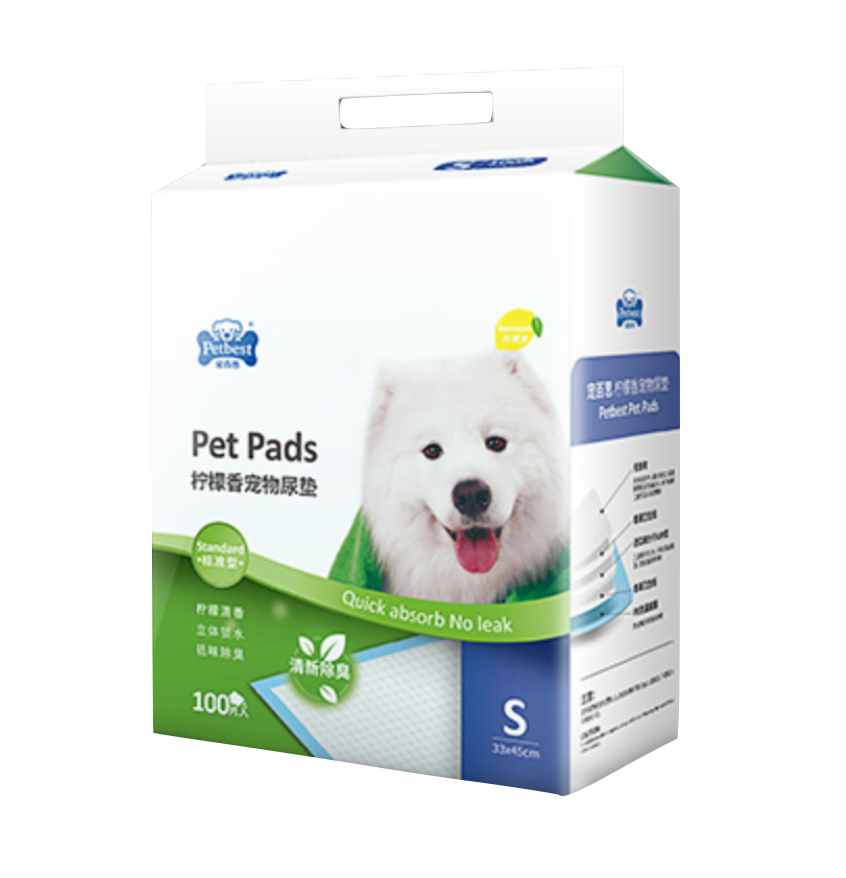 PETBEST【宠百思】Lemon Training Pet Pads / Wee Wee Pads / Urine Pads 加厚柠檬香宠物尿垫 S Size (33cm x 45cm) 100pcs
