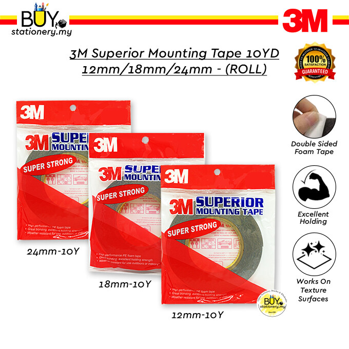 3M Double-Sided Superior Mounting Tape 10YD 12mm/18mm/24mm - (ROLL)