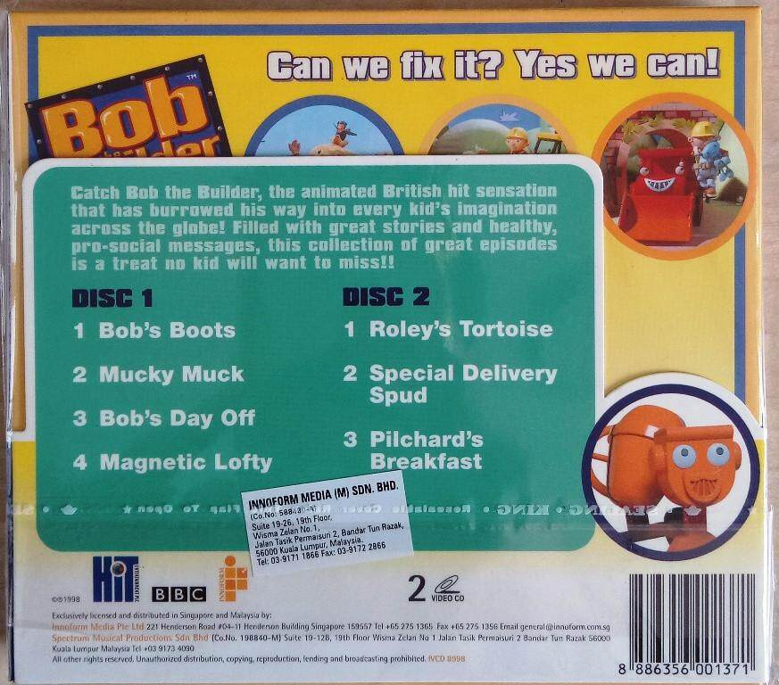 British Children's Animated TV Show - Bob The Builder Roley 2VCD 6 Episodes