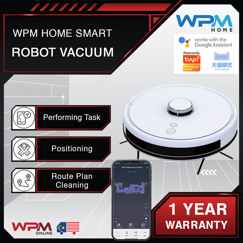 WPM Home Tuya Smart Robot Vacuum Cleaner LDS Real-Time Map 4000pa Suction 5200mAh LG Battery Floor Sweeping Droid MOP