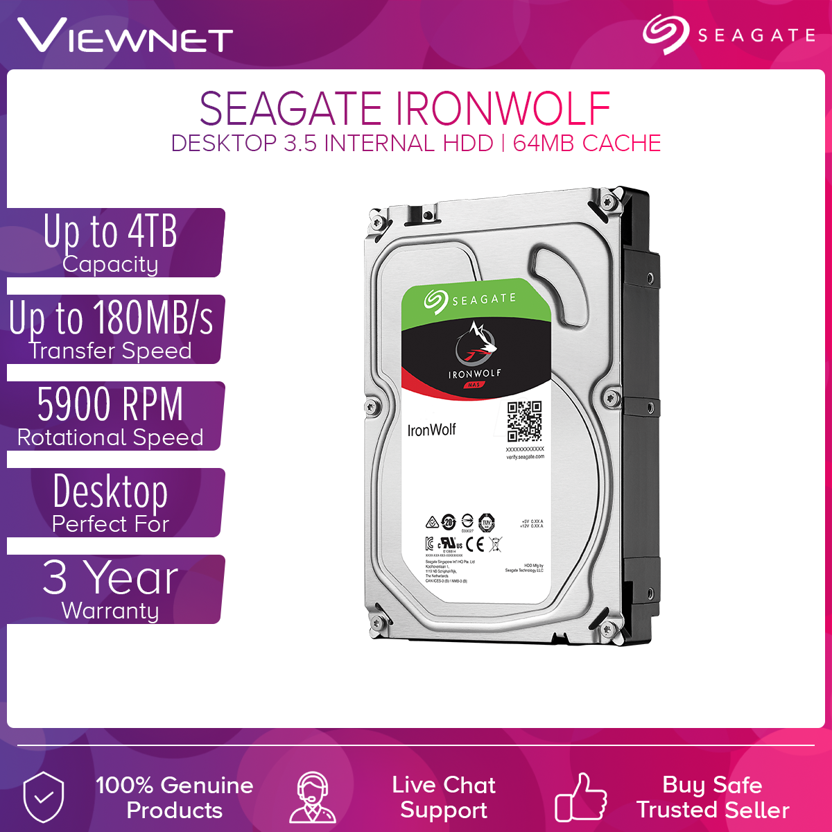 Seagate Ironwolf 1TB/2TB/3TB/4TB Internal Hard Drive - 5900RPM SATA 6Gb/s 64MB Cache 3.5