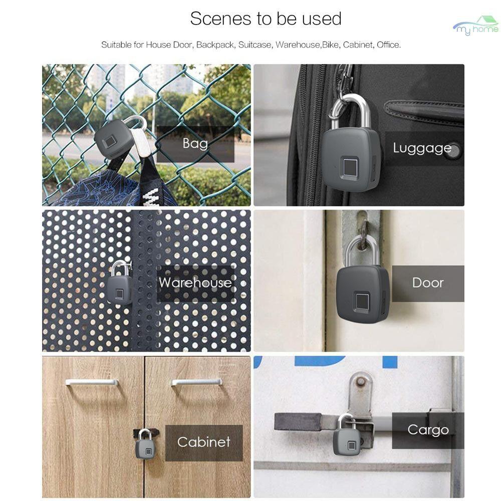 Chains & Locks - Smart Fingerprint Padlock Safe USB Charging Rechargeable Waterproof Door Lock - #