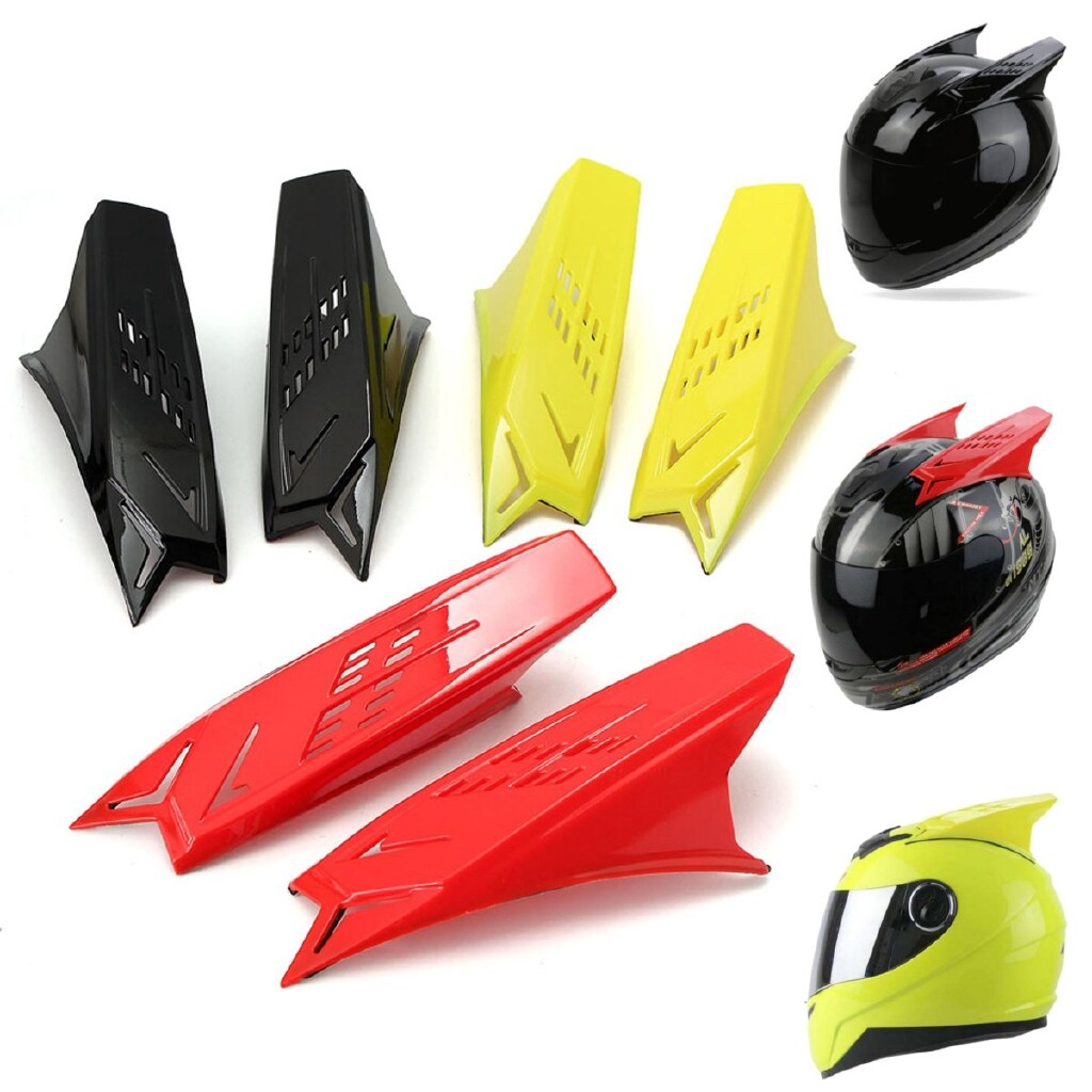Moto Helmets - Pair Men's Helmet Accessories Racing Mohawk Horns Muti-colors With cotch Tapes - BLACK / RED / YELLOW