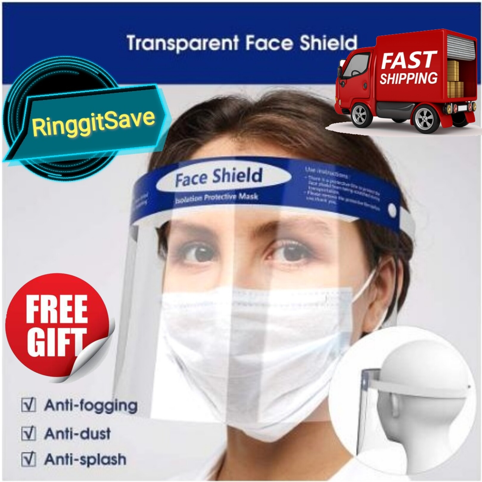 (Ready Stock) Face Shield Protector Transparent Face Shield Cover Protective Face With Free Gift