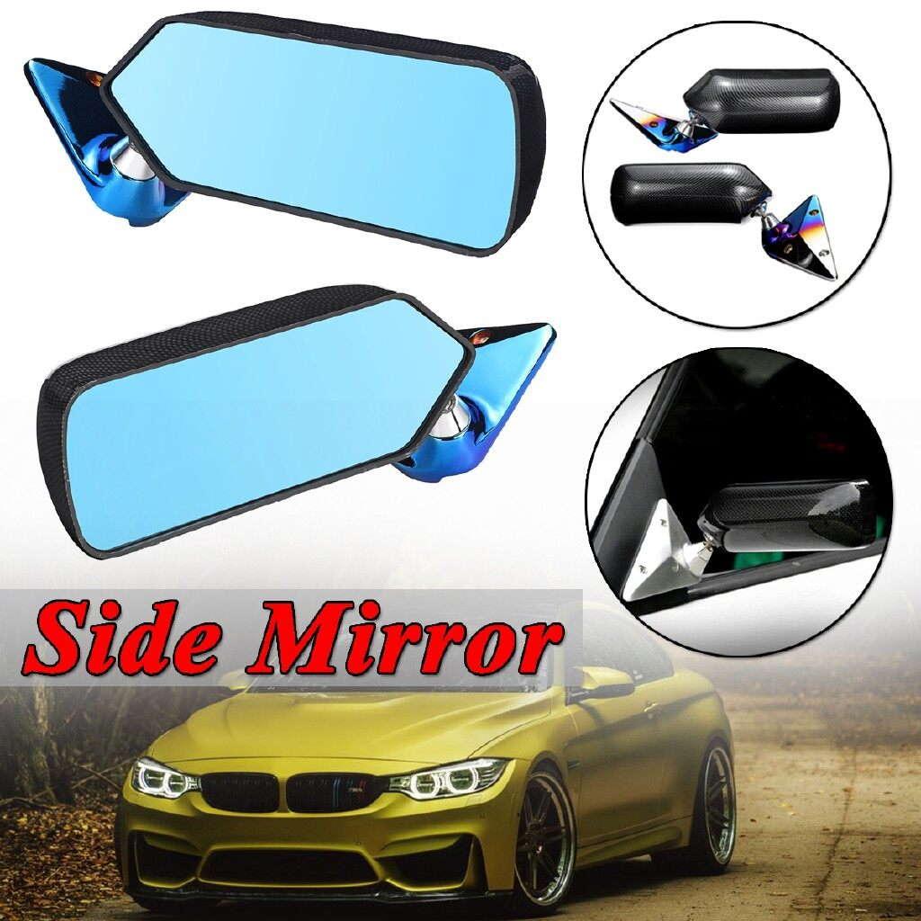 Automotive Tools & Equipment - Carbon Fiber Look Pair Universal F1 Style Blue Mirror Metal Bracket Side Mirrors - Car Replacement Parts