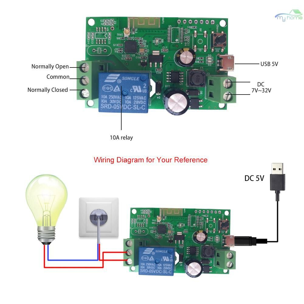 DIY Tools - DC5V 12V 24V 32V Wifi Switch WIRELESS Relay Module Smart Home Automation Modules Phone APP - GREEN