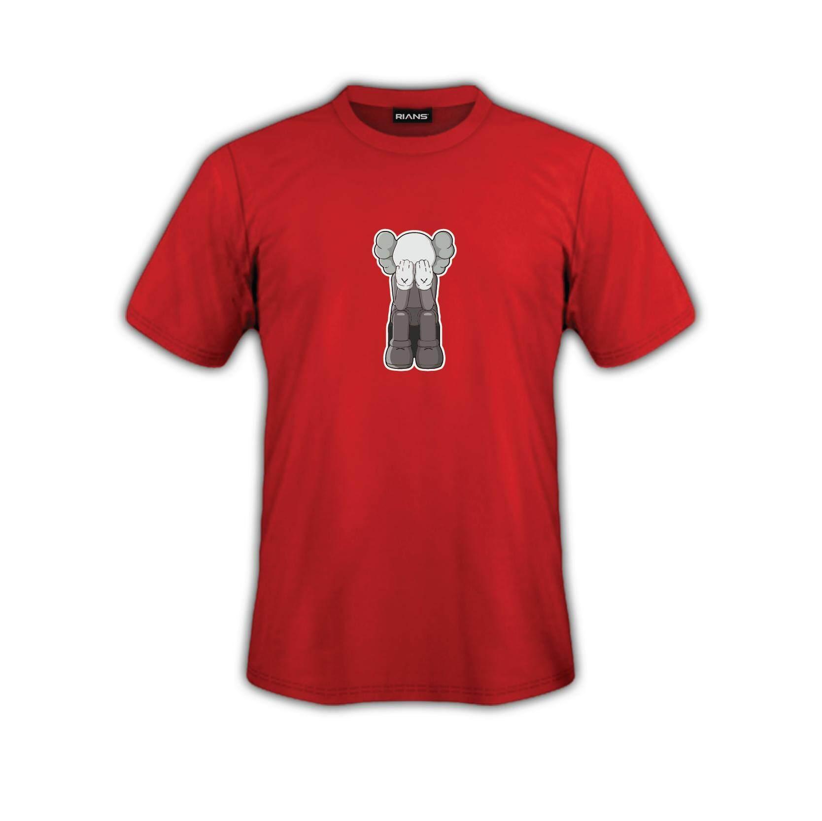 T-Shirt KAWS Tutup Mata Viral 4 Colour 100% Cotton Baju Tshirt Black White Hitam Putih Bossku